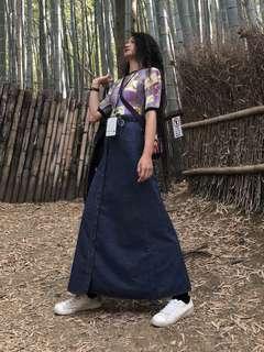 🚚 日本古著|Levi's 超長版高腰排扣牛仔長裙 深藍色