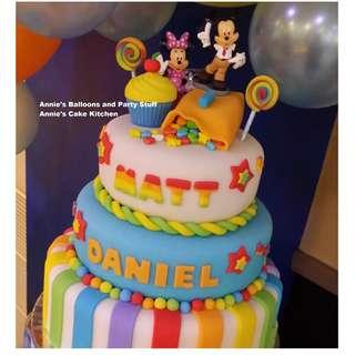 Three-Layer Candyland with Mickey & Minnie Theme Fondant Cake