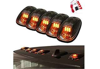 Amber 9 LED Smoke Cab Roof Top Running Marker Lights