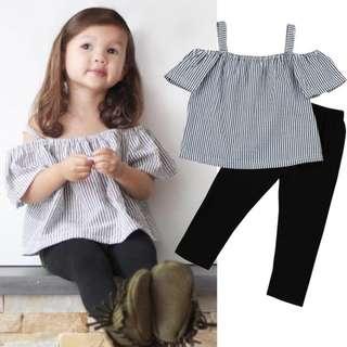 ✔️STOCK - 2pc STRIPE BW TOP & BLACK LEGGING PANTS SET BABY TODDLER GIRL KIDS CHILDREN CLOTHING