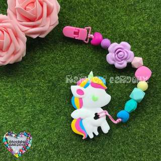 Handmade Silicone beads Pacifier Clip + Rainbow Unicorn teether combo