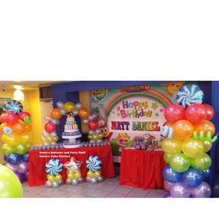 Colorful Balloon Arrangement for Candyland Theme Kiddie Party (1 pair of pillars, 1 cake arch, 3 small balloon clusters)