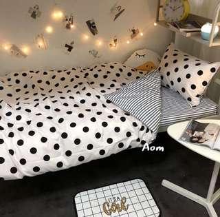 🚚 超熱銷 舒適少女心 點點床包組 被單 枕套 床單 學生宿舍床墊 加大床墊 宜家