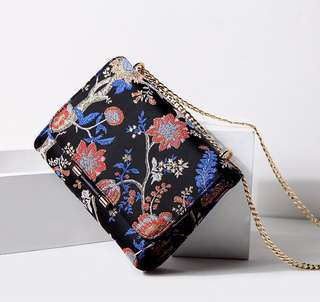 Floral Embroided Sling Bag