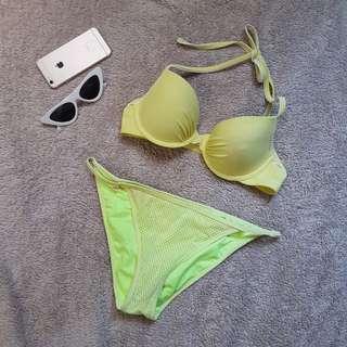 Yellow two piece bikini swimsuit