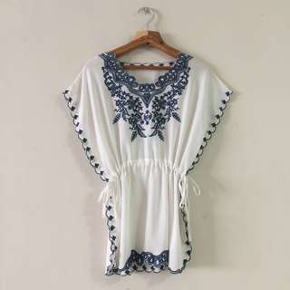 White Porcelain Inspired Embroidery Blouse Top