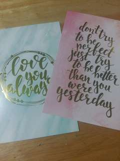 Decorative foiled cards (Quotes)