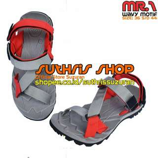 Sandal Gunung Suzuran Edge x Mr1 Grey w Grey Red