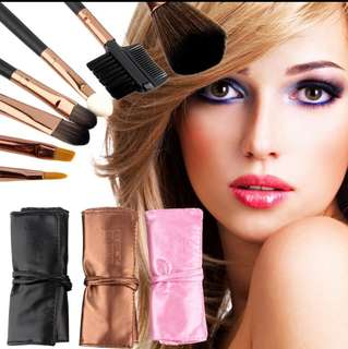 【Readystock】7 pcs Professional Cosmetic Makeup Brush Set eye Brushes With Leather Case Pouch