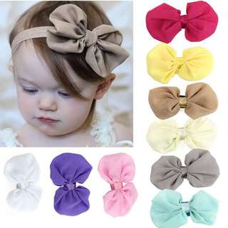 9pcs Chiffon Flower Elastic Headband