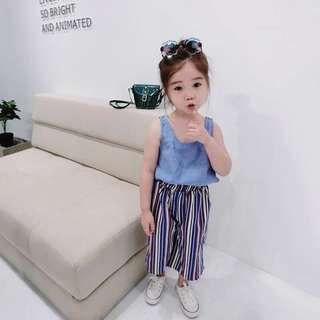 韓版 春夏新款 女童無袖上衣+條紋寬褲套裝