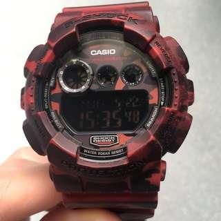🚚 CASIO 卡西歐 G-Shock 限量 GD-120CM-4JR 軍事戰地 叢林 紅迷彩 野戰 大錶徑 電子錶
