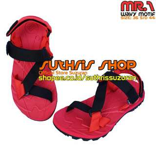 Sandal Gunung Suzuran Edge x Mr1 Red w Red Black