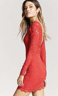 Red Lace Backless Dress