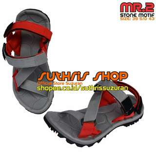 Sandal Gunung Suzuran Edge x Mr2 Grey w Grey Red
