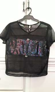 Sequined See Through Top