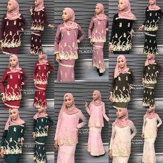 Lace Saree Style Kurung Set