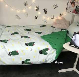 🚚 可愛仙人掌🌵被單 枕套 床單 學生宿舍床墊 標準雙人 標準單人 加大床墊 宜家 居家佈置 居家裝飾 租屋