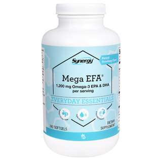 Vitacost Synergy Mega EFA® 1200 mg Omega-3 EPA & DHA per serving -240 Softgels (4 months supply) . Made In America by FDA's Current Good Manufacturing Practices (CGMPs) facility.