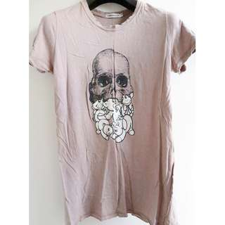 UNDERCOVER PURPLE TEE WITH SKULL & BEAR PRINT T-SHIRT