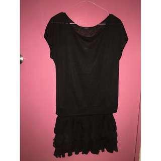 Black Sheer Dress with Ruffle Hem