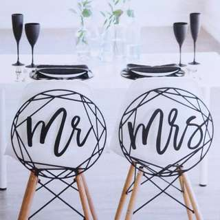 Mr & Mrs Chair Signage - Overlapping Outlines Wedding Chair Decor