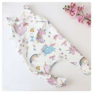 ✔️STOCK - PINK UNICORN SLEEVELESS BABY NEWBORN TODDLER GIRL ROMPER JUMPER KIDS CHILDREN CLOTHING