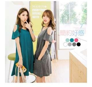 (PLUS SIZE/NORMAL PO) Cotton cold shoulder dress