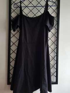Off/cold shoulder black dress