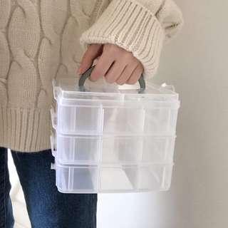 3層18格透明塑膠飾品收納盒