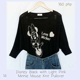 Disney Black with Light Pink Minnie Mouse Knit Pullover