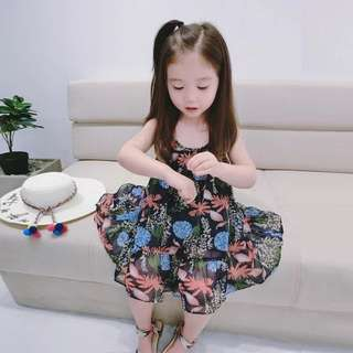 韓版 春夏新款渡假風花草雪紡洋裝