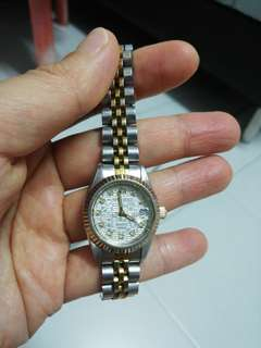 Aries Gold gold plate/SS Ladies Quartz /Date Model BR38 (without box)