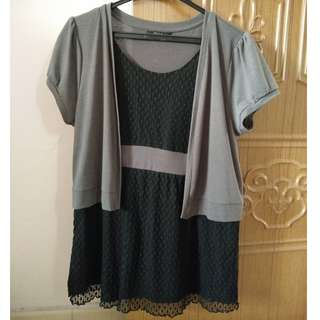 Bega Black and Grey Chiffon and Cotton Top (XL)