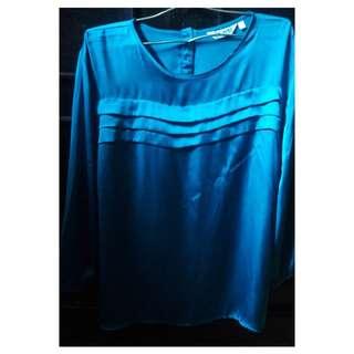 Blouse Silk MINT Biru Tosca