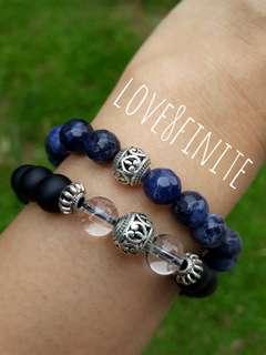 """I trust"" sodalite + black agate + lava crystal bracelet"