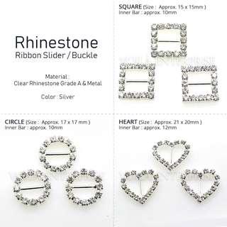 Rhinestone Ribbon Buckle / Slider