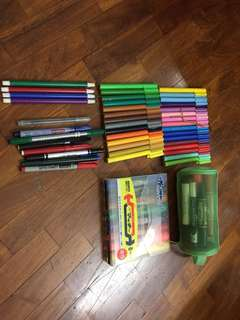 Markers and Crayons and sharpener