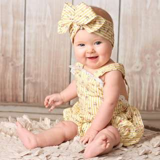 ✔️STOCK - 2pc YELLOW FLORAL ROMPER & HEADBAND NEWBORN BABY TODDLER GIRL ROMPER KIDS CHILDREN CLOTHING