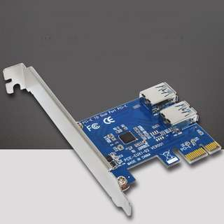 2 ports in 1 PCI-E Riser Adapter Board USB3.0