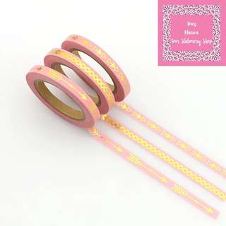 Set of 10m 3rolls Pink & Gold Slim Washi Tape