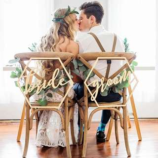 Bride & Groom Hexagon Wooden Wedding Chair Signage Decoration