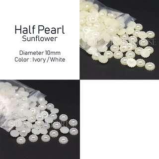 50pcs Half Pearl - Sunflower