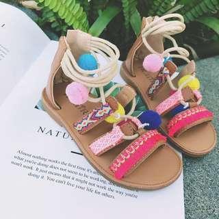 韓版 春夏新款 女童精彩繽紛渡假風球球涼鞋