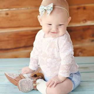 ✔️STOCK - WHITE LACE NEWBORN BABY TODDLER GIRL LONG SLEEVES ROMPER KIDS CHILDREN CLOTHING