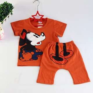 Playful Mickey Kids Terno Orange