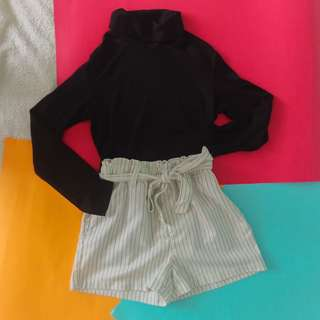 PENSHOPPE Belted Striped Shorts