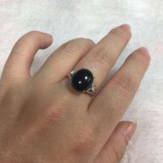 天然緬甸玉A貨墨翠蛋面925銀鑲鋯石活圍戒指