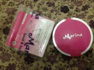 Bedak marina two way cake + refill