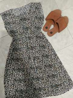Animal print polyester dress